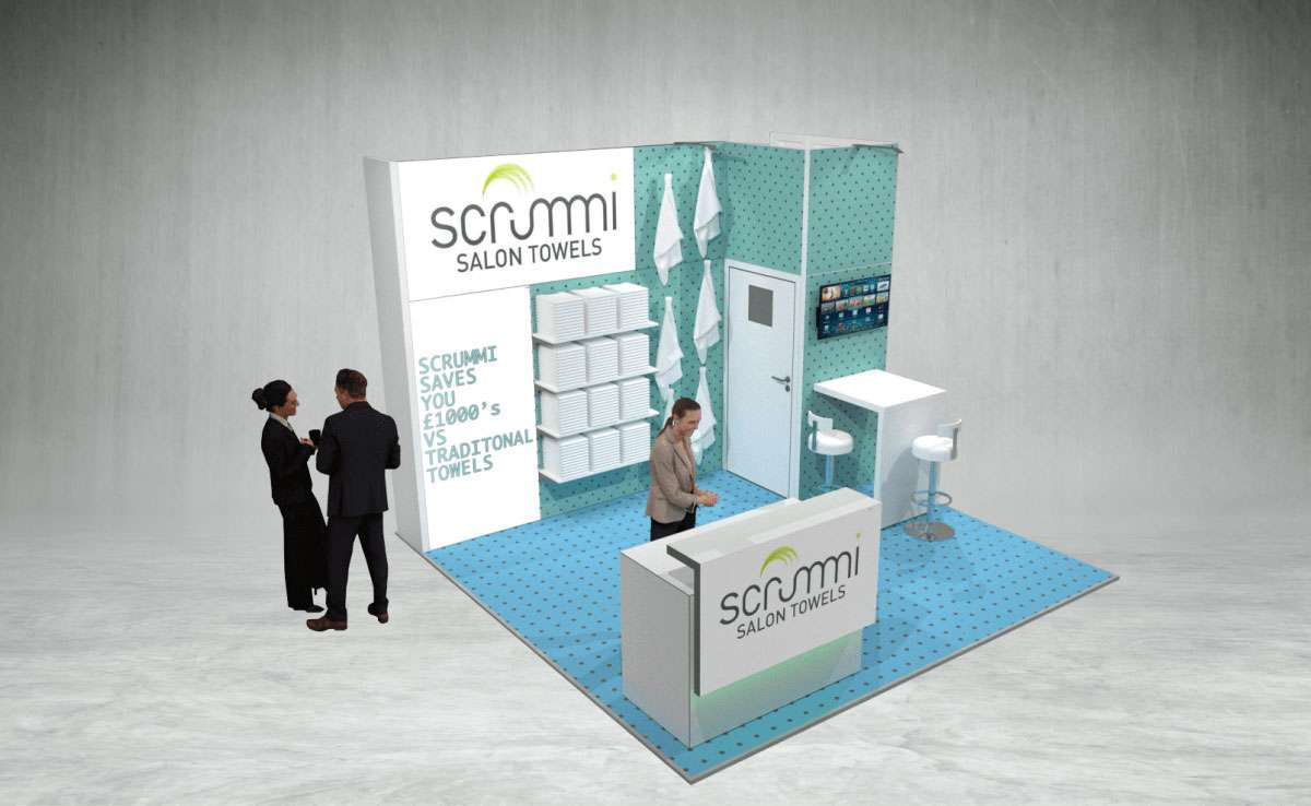 scrummi salon towels company exhibition stand